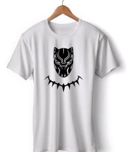 Black Panther Art White Cotton T-Shirt