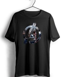 Avengers Art Black Cotton T-Shirt