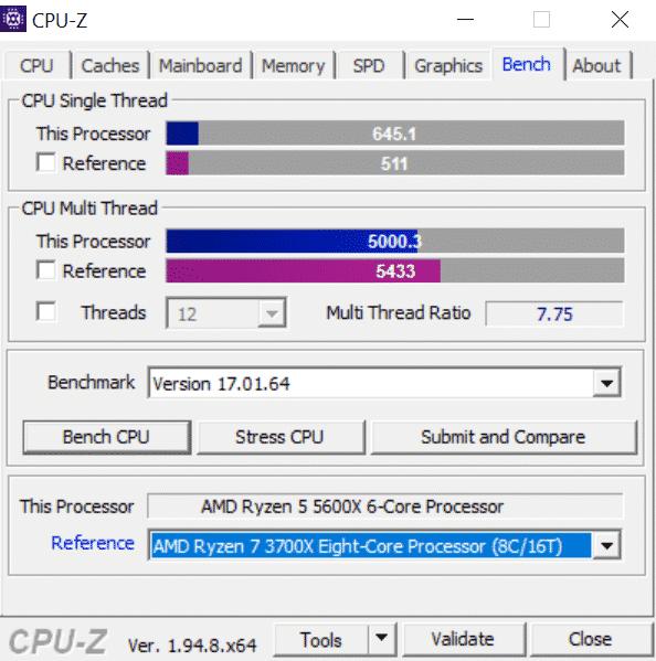 Intel Core i5-11600K fails to beat AMD Ryzen 5 5600X in CPU-Z benchmark
